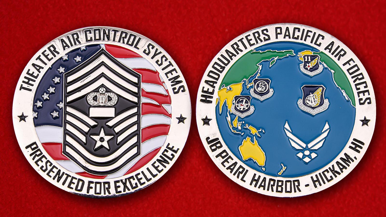 Челлендж коин сотрудников центра управления полетами штаба Тихооканского командования ВВС США