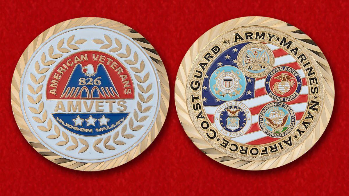 Челлендж коин Союза американских ветеранов Второй Мировой войны - аверс и реверс