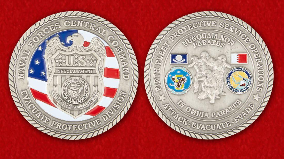 Челлендж коин Специального Агента Министерства ВМС США - аверс и реверс
