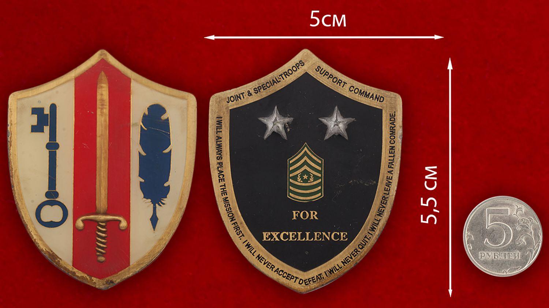 Челлендж коин Спецназа Командования Армии резерва США - сравнительный размер