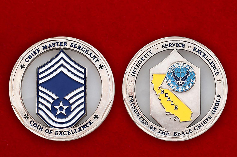 "Челлендж коин ""Старшему мастер-сержанту авиабазы Бэйл ВВС США"""