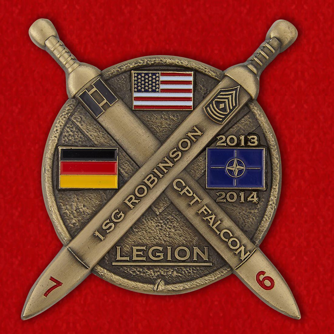 "Челлендж коин ""Старший сержант Робинсон, капитан Фалкон. 5-й батальон 7-го артиллерийского полка ПВО"""