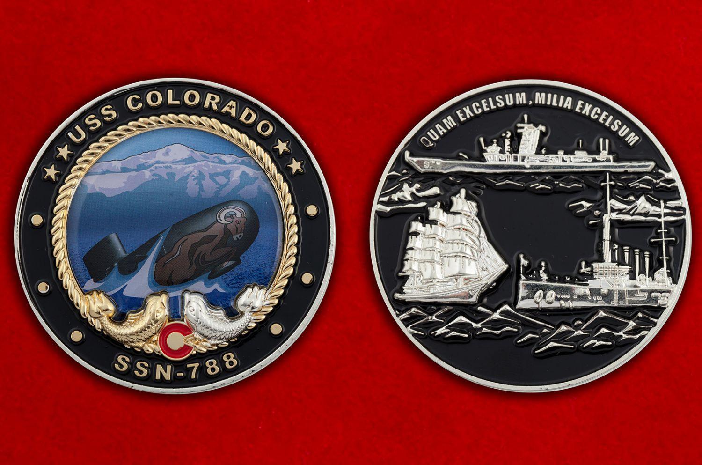Челлендж коин субмарины USS Colorado (SSN-788) - аверс и реверс