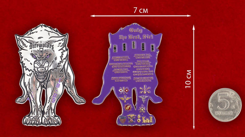 Челлендж коин Сухопутных войск США - сравнительный размер