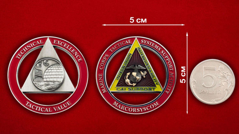 """Челлендж коин """"Тактическая система поддежки морских пехотинцев С-41"""" - сравнительный размер"""