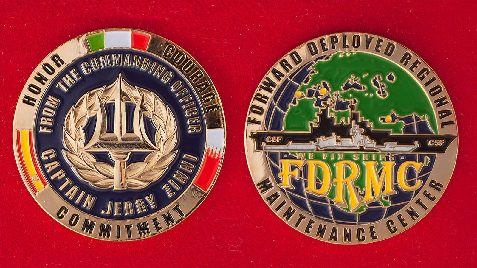 Челлендж коин Технического центра передового развертывания ВМС Италии и Испании в Бахрейне - аверс и реверс