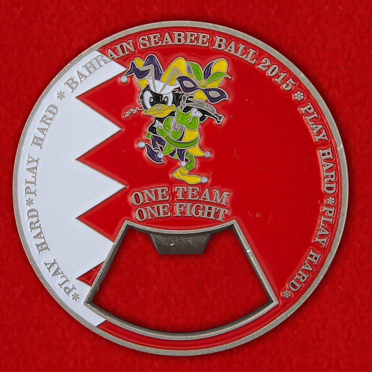 """Челлендж коин-открывалка""""Торжественный прием военных строителей ВМС США в Бахрейне в 2015 году"""""""