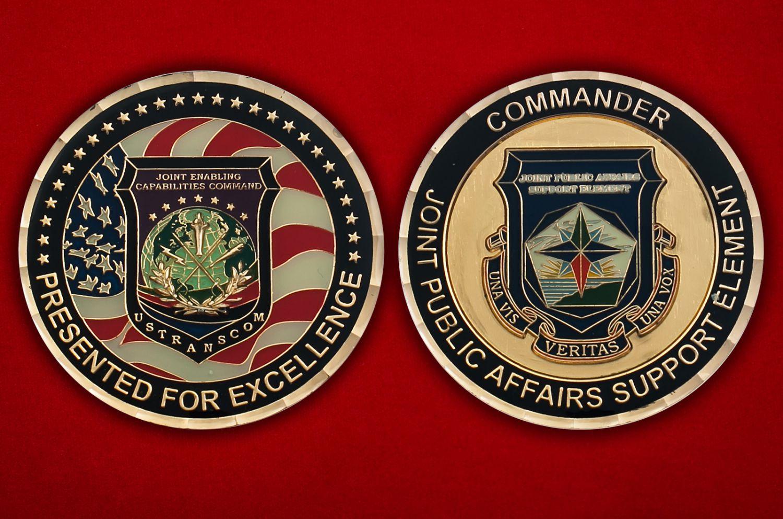 Челлендж коин Транпортного Командования Министерства Обороны США - аверс и реверс