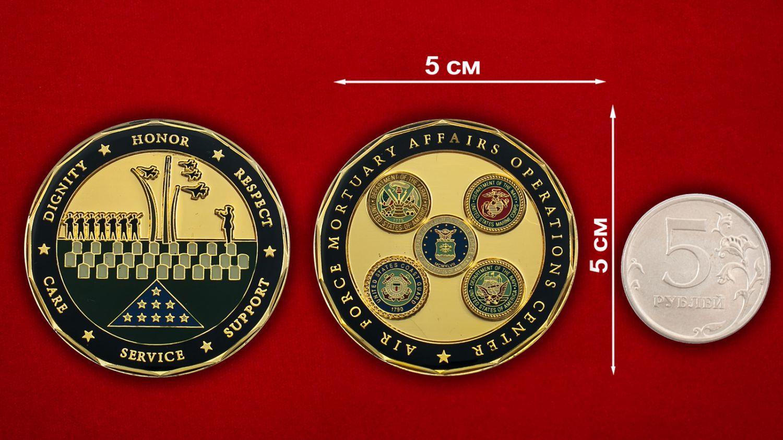 Челлендж коин Центра ритуальных услуг ВВС США - сравнительный размер