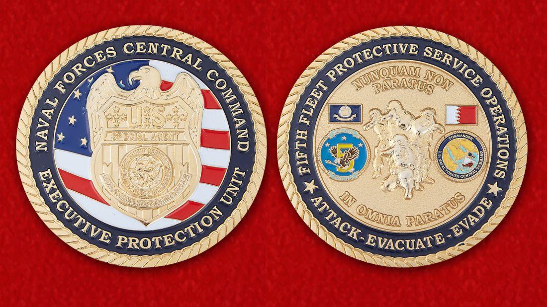 Челлендж коин Центрального командования ВМС США - аверс и реверс