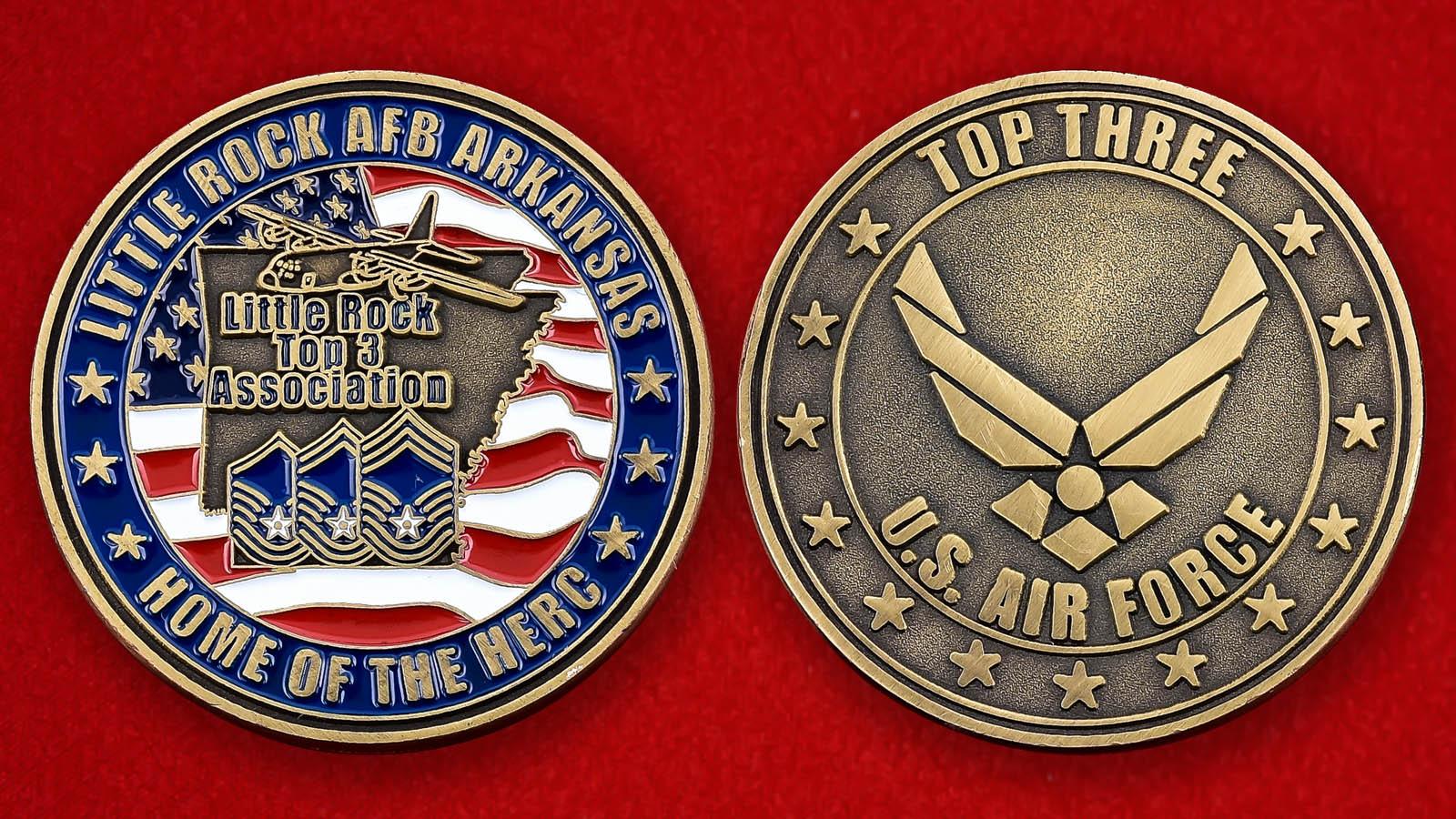 """Челлендж коин """"Учебная авиабаза Литтл-Рок Министерства обороны США, штат Арканзас"""""""