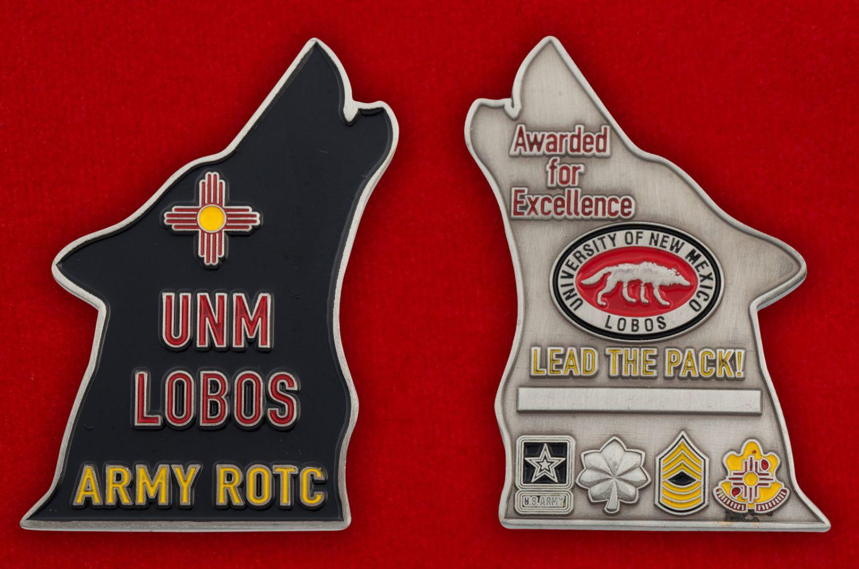 Челлендж коин Учебного Корпуса офицеров запаса при Университете Лобос, Нью-Мексико - аверс и реверс