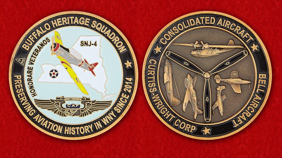 """Челлендж коин """"Учебный самолет ВВС США SNJ-4 на историческом авиашоу в Буффало"""" - аверс и реверс"""
