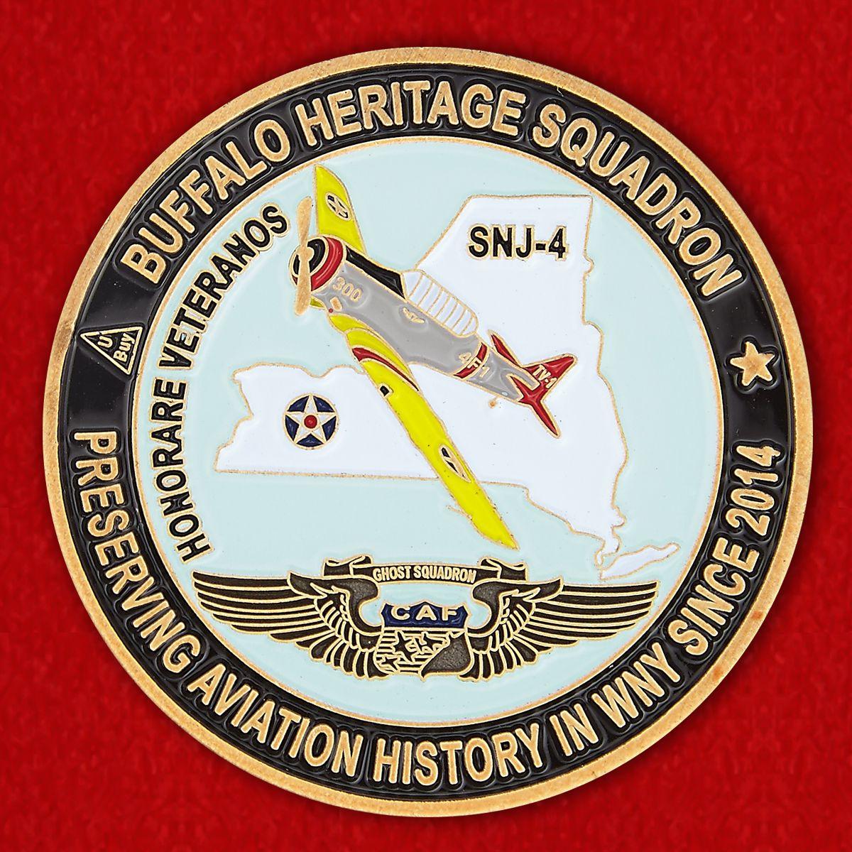 """Челлендж коин """"Учебный самолет ВВС США SNJ-4 на историческом авиашоу в Буффало"""""""