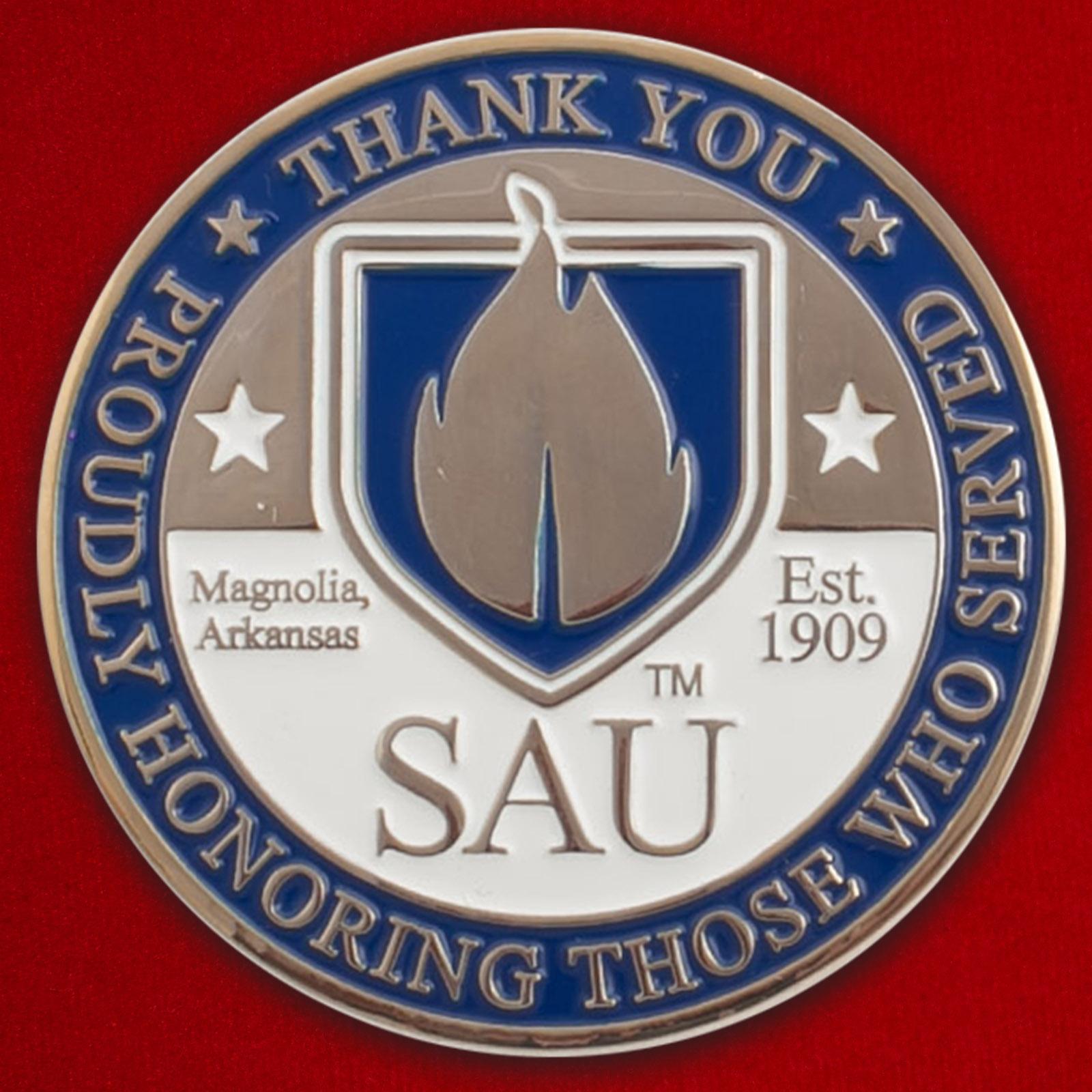 """Челлендж коин Университета Южного Арканзаса """"В благодарность военнослужащим ВС США"""""""