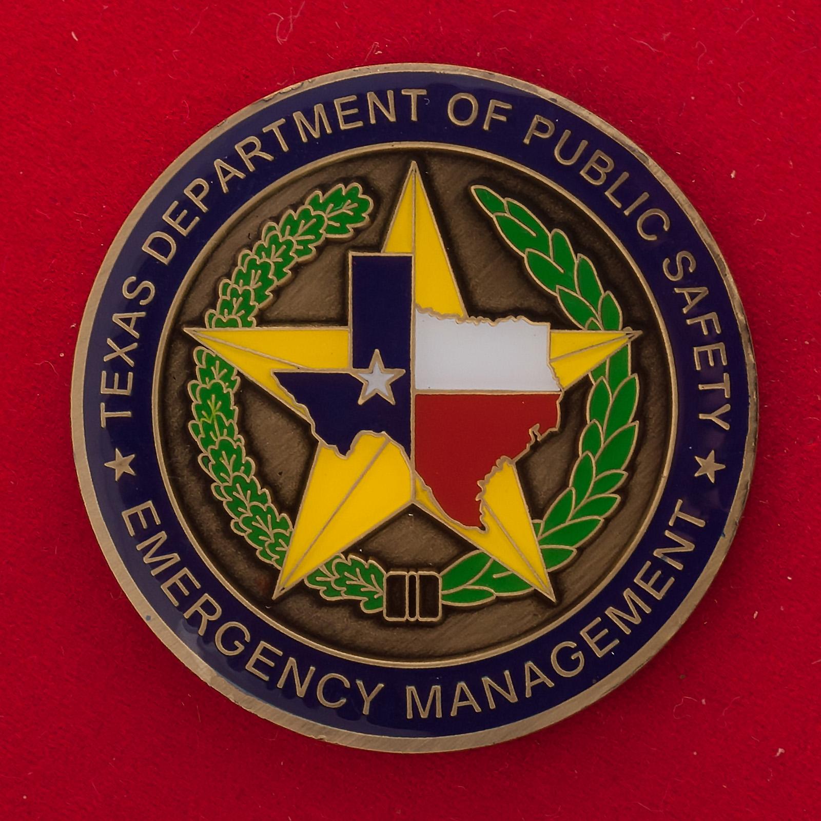 Челлендж коин Управления по чрезвычайным ситуациям Департамента общественной безопасности Техаса