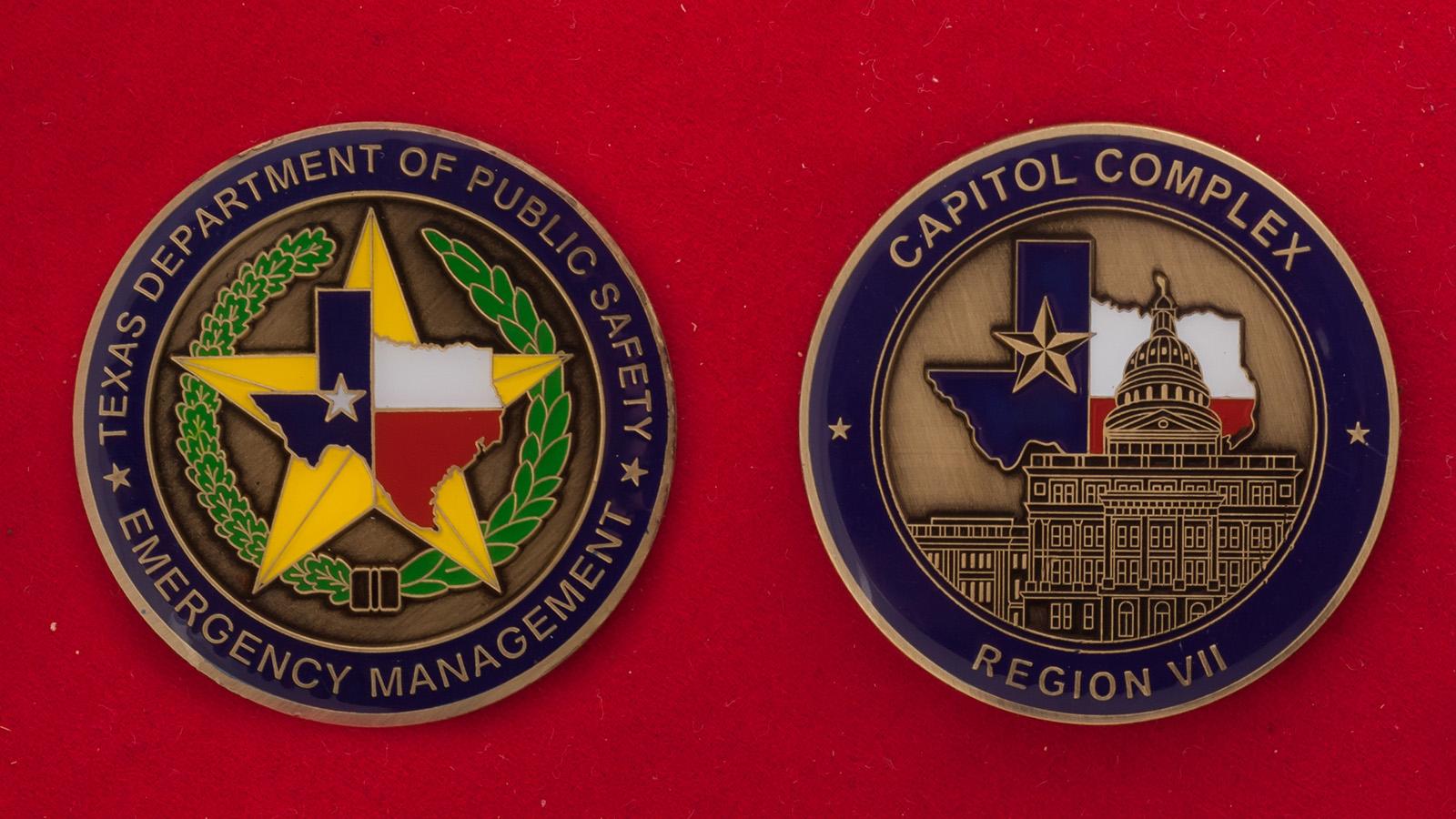 Челлендж коин Управления по чрезвычайным ситуациям Департамента общественной безопасности Техаса - аверс и реверс