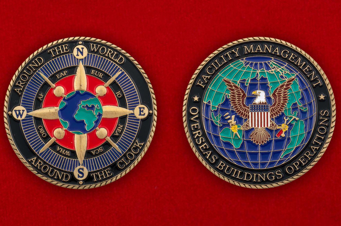 Челлендж коин Управления представительскими оъектами США за рубежом - аверс и реверс