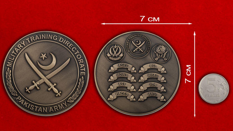 Челлендж коин Управления военной подготовки Армии Пакистана - сравнительный размер