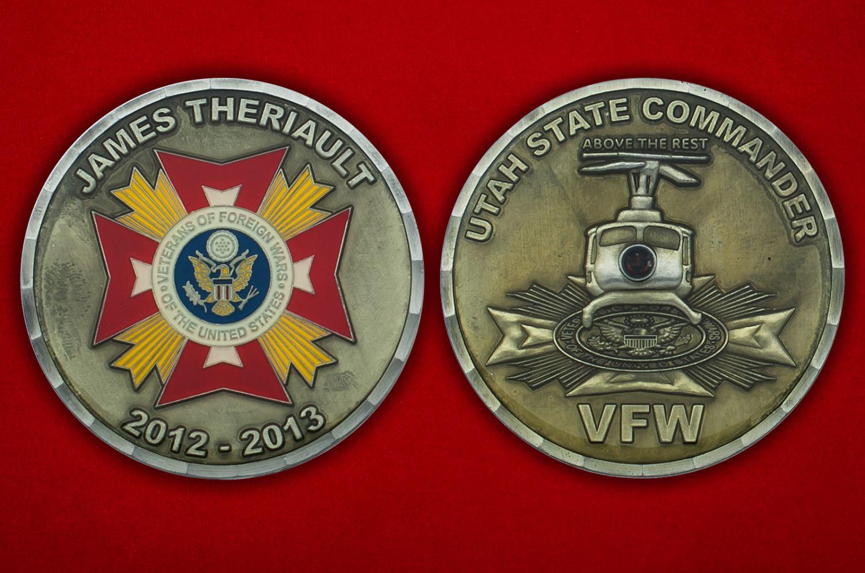 Челлендж коин ветерана зарубежных войн Джеймса Траульта