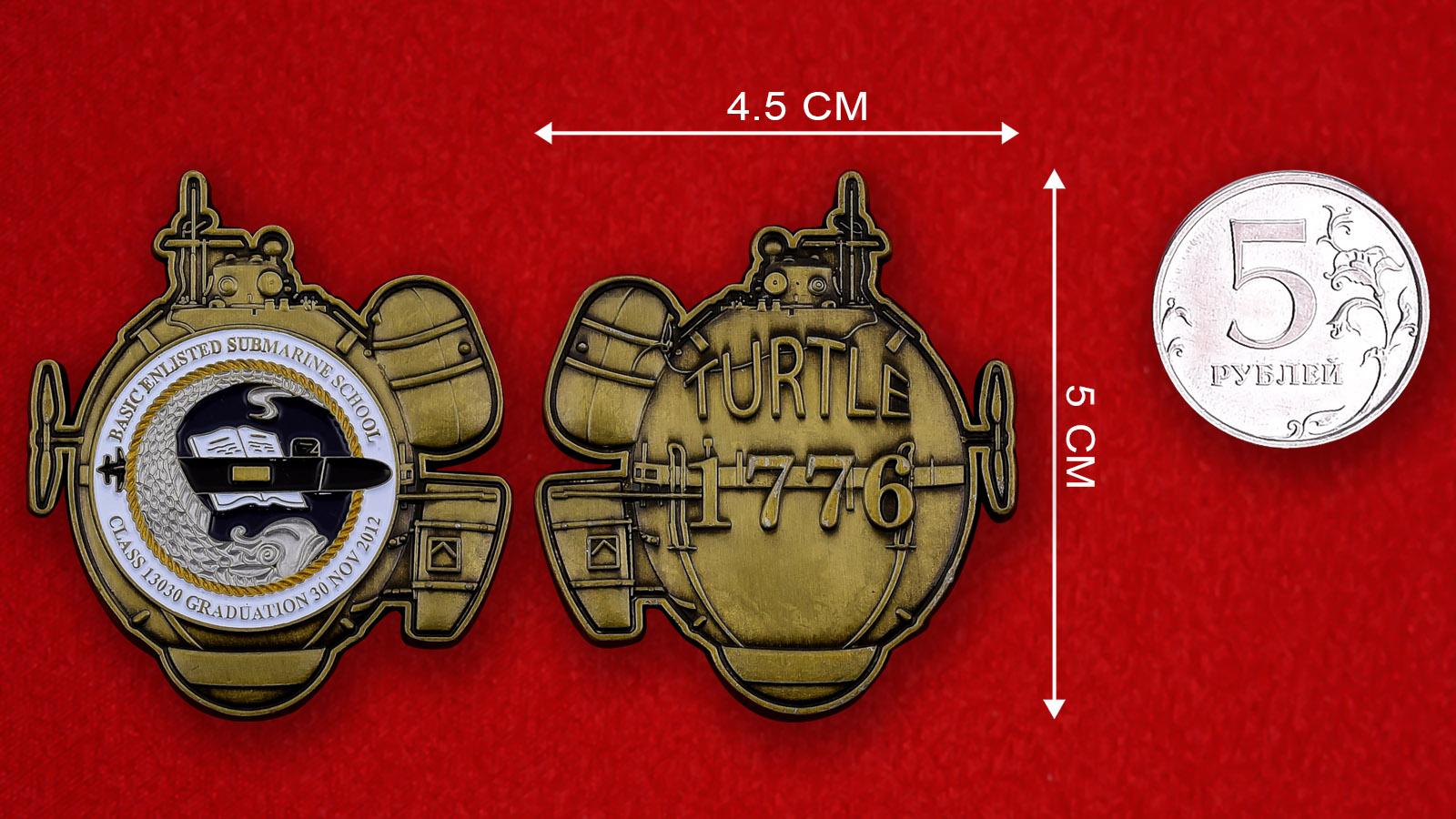 """Челлендж коин ВМС США """"Первая боевая подводная лодка Turtle, 1776 год"""""""