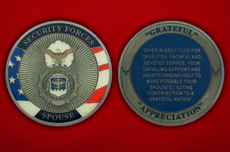Челлендж коин военной полиции ВВС США - аверс и реверс