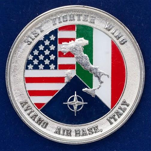"""Челлендж коин ВВС США """"31 истребительному полку от командования авиабазы Авиано"""""""