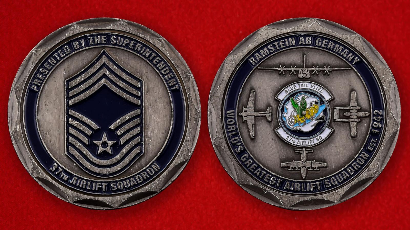 """Челлендж коин ВВС США """"От инспектора 37-й транспортной эскадрильи. База Рамштайн"""""""