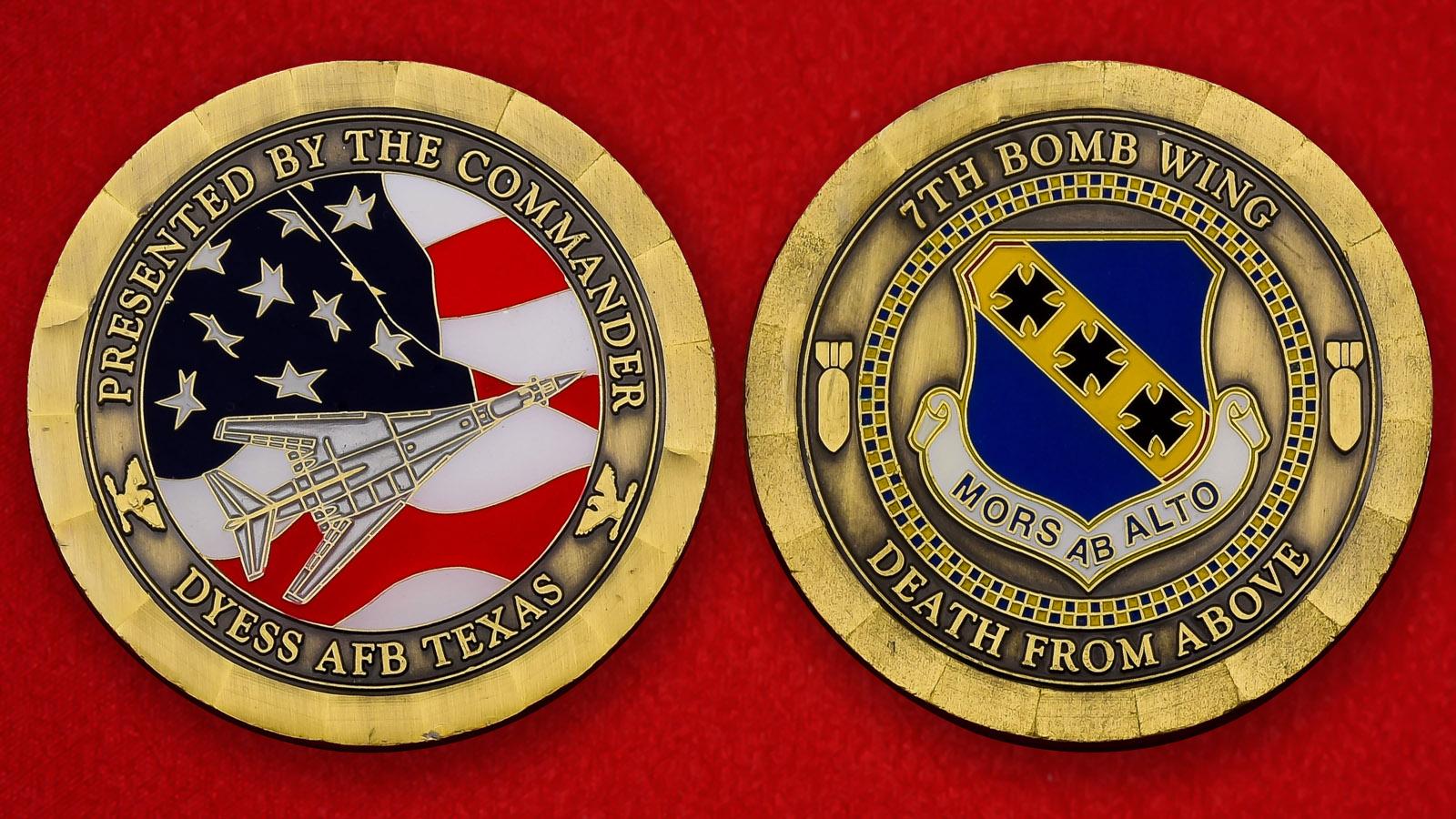 """Челлендж коин ВВС США """"От командира 7-го крыла стратегических бомбардировщиков"""""""