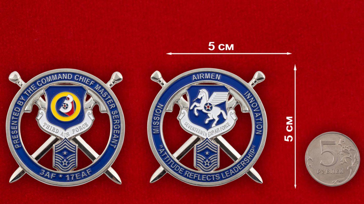 Челлендж коин ВВС США в Европе - сравнительный размер