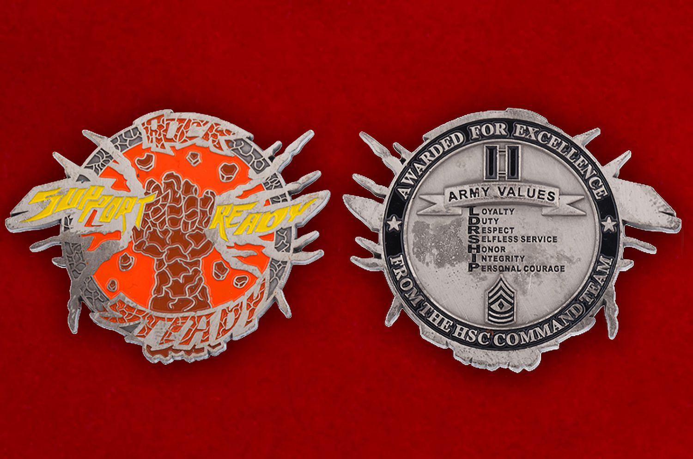 "Челлендж коин ""За особые заслуги"" от командования медицинских служб частей армии США - аверс и реверс"