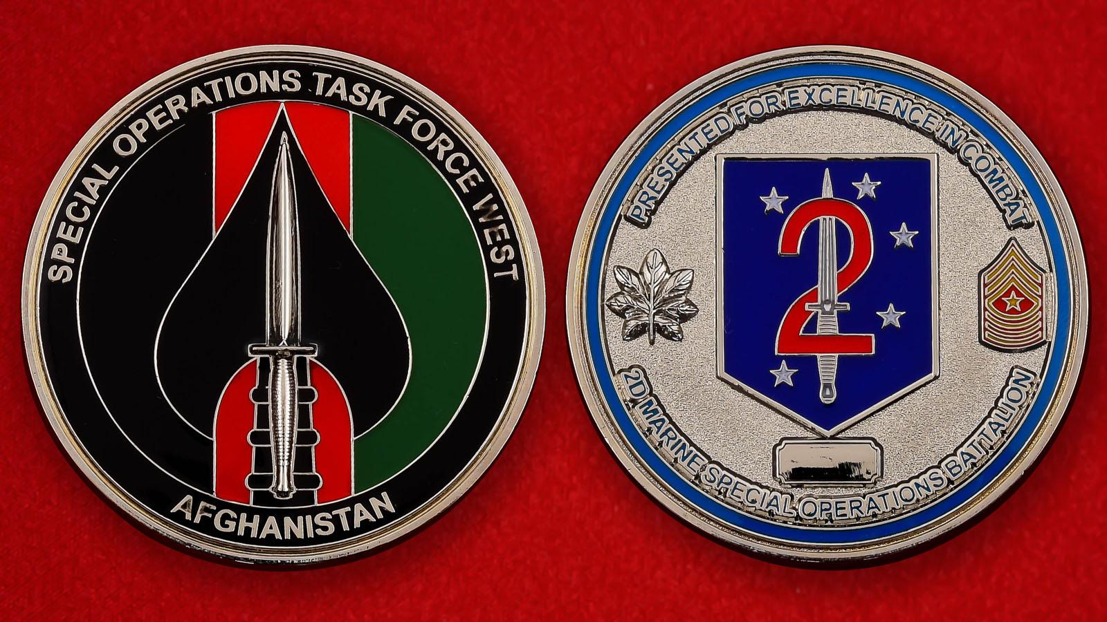"""Челлендж коин """"За отличие в бою"""" 2-го батальона оперативной группы Запад спецназа Морской пехоты США"""