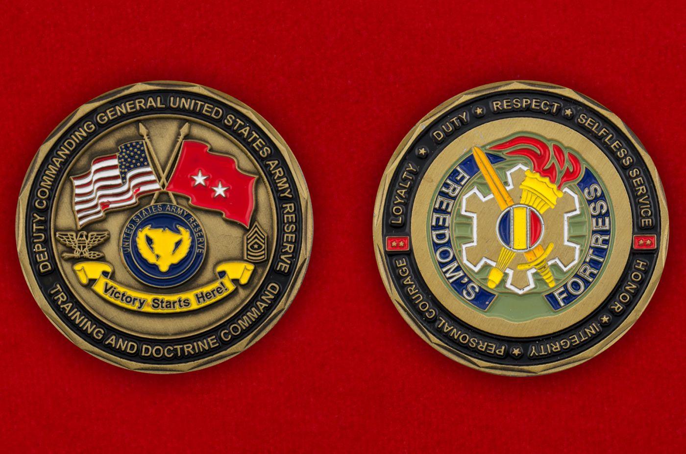 Челлендж коин Заместителя Командующего резерва Армии США - аверс и реверс