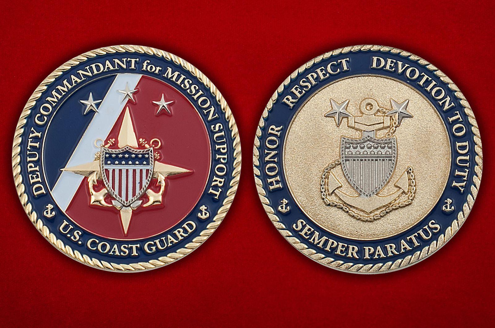 Челлендж коин заместителя Коменданта Береговой охраны США - аверс и реверс