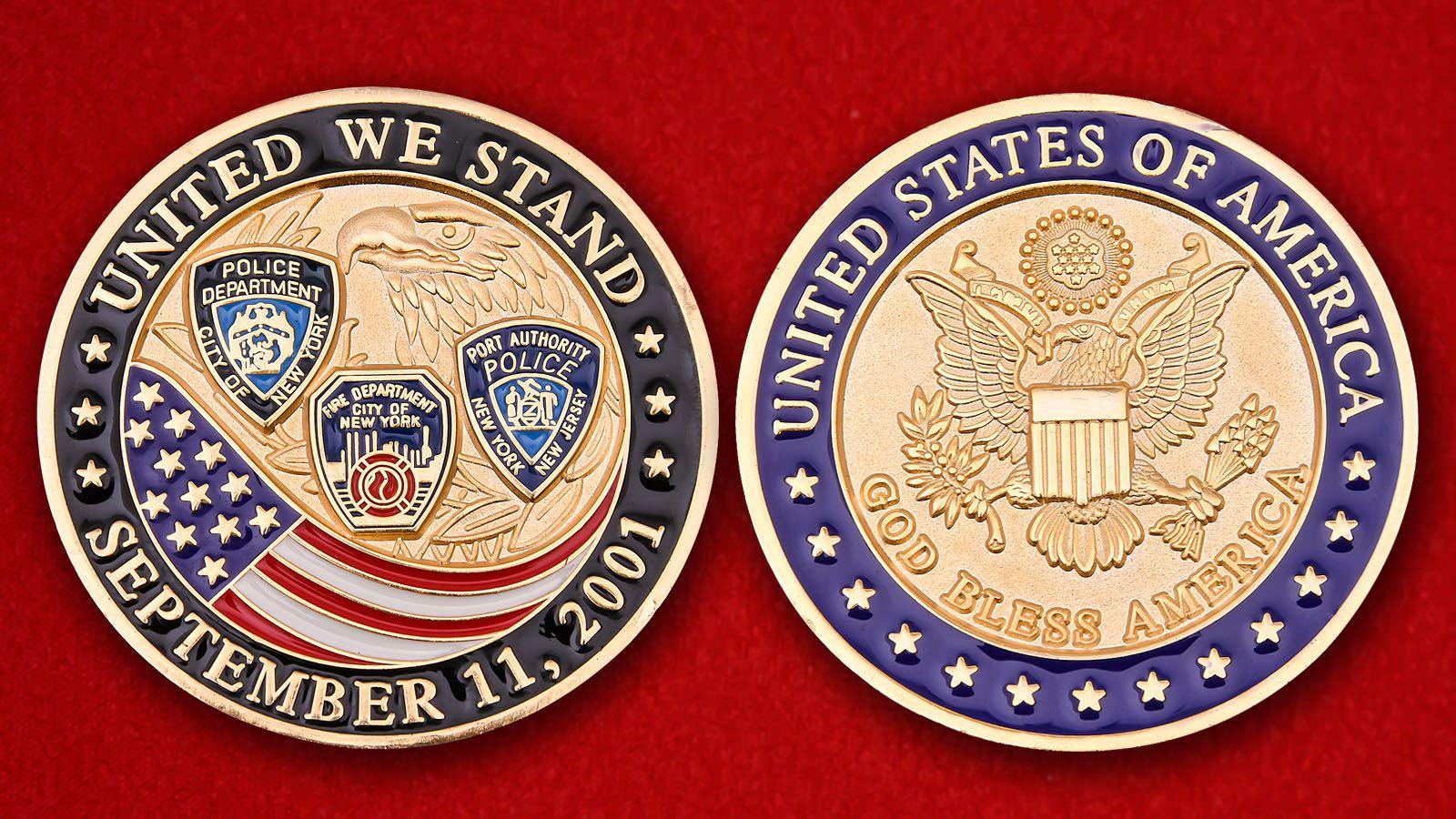 """Челленж коин """"Полицейским и пожарным Нью-Йорка, устранявшим последствия терактов 11 сентября 2001 года"""" - амерс и реверс"""