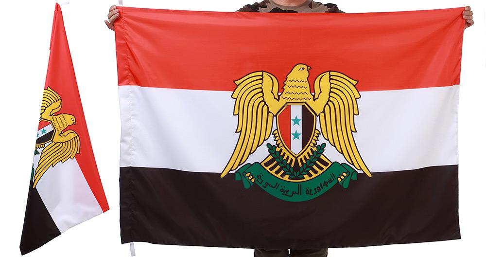 Двухсторонний флаг Сирии с гербом