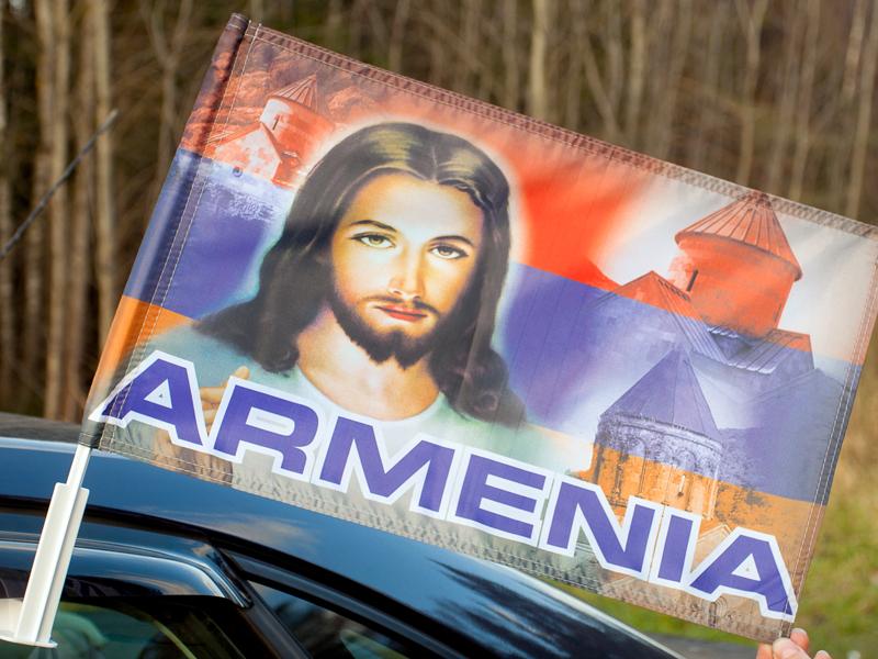 Флаг на машину с кронштейном «Армения Иисус»