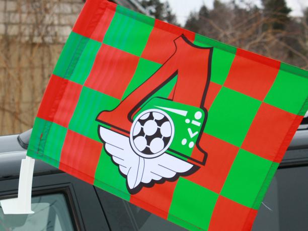 Флаг на машину с кронштейном «ПФК Локомотив» в клетку
