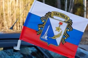 """Флаг Севастополя """"Триколор с гербом"""""""