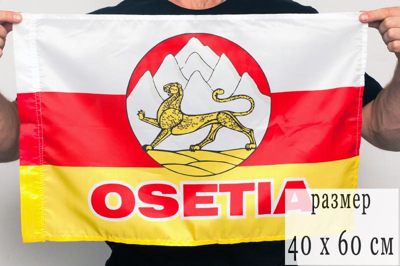 Флаг Республики Северная Осетия с гербом 40х60