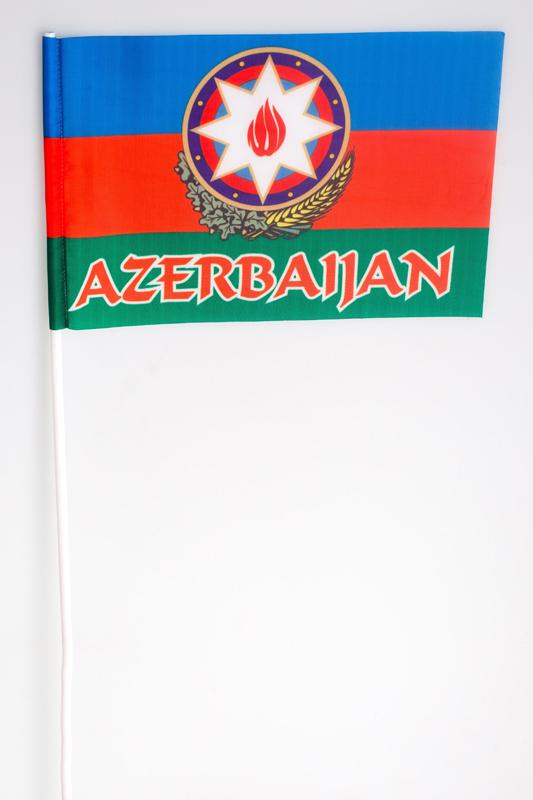 Флажок на палочке «Флаг Азербайджана с гербом»