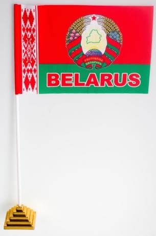 Флажок настольный Республики Беларусь с гербом