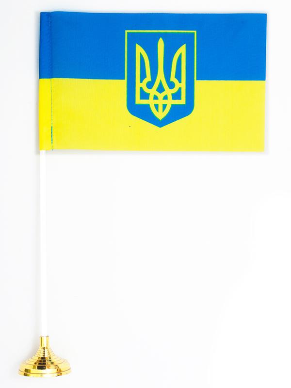 Флажок настольный «Флаг Украины с гербом» по акции