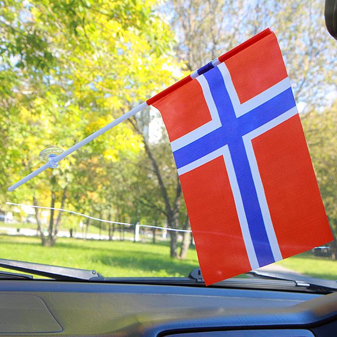 Флажок Норвегии в машину с присоской