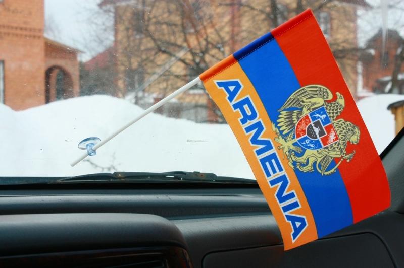 Флажок в машину Армения с надписью