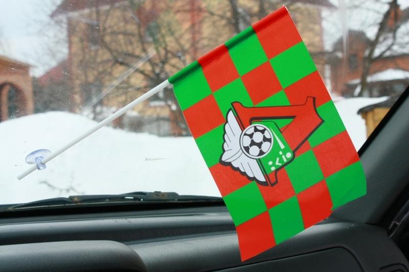 Флажок в машину с присоской Локомотив клетка