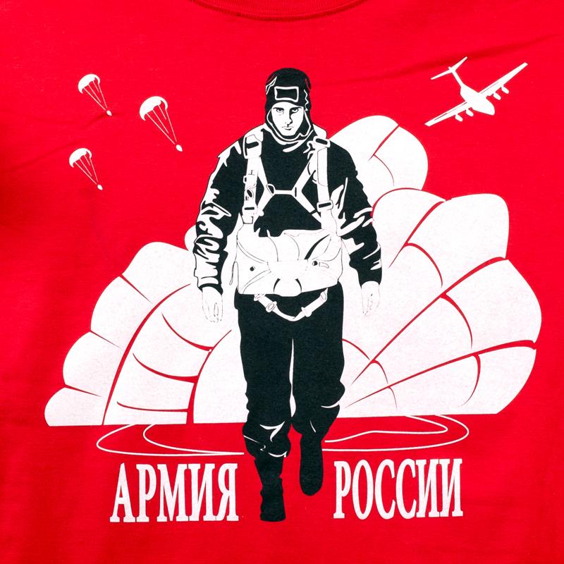 """Футболка """"Войска армии России"""" красная-логотип"""