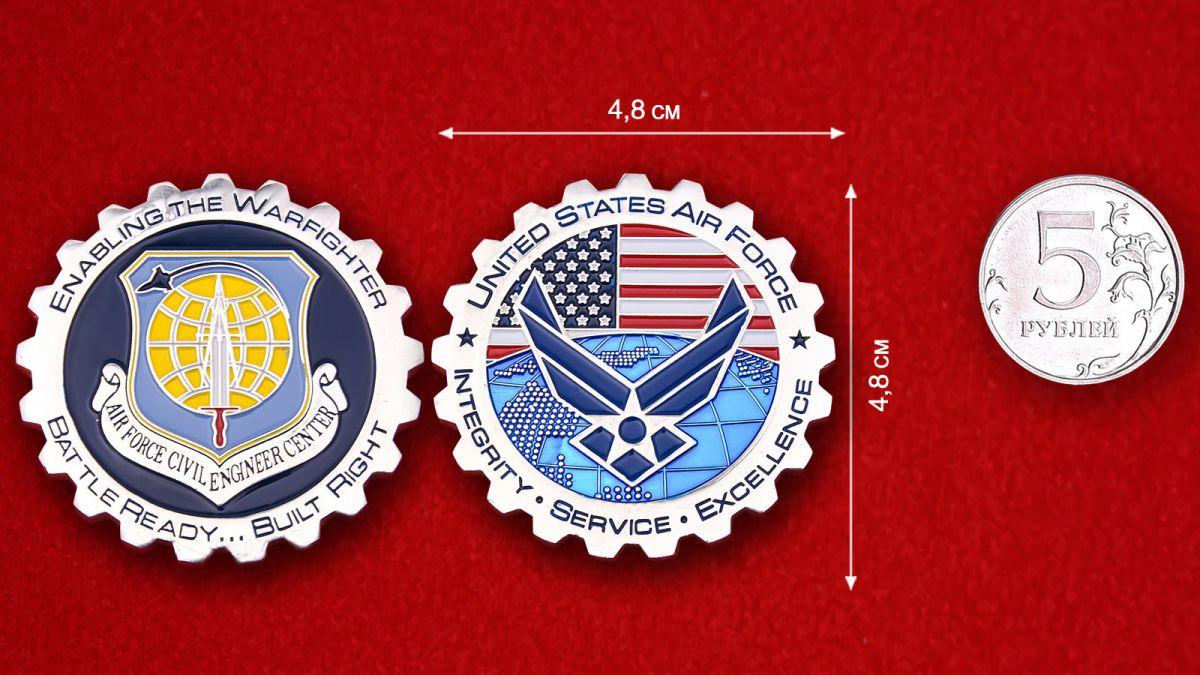 Челлендж коин Государственного Технического центра ВВС США - сравнительый размер
