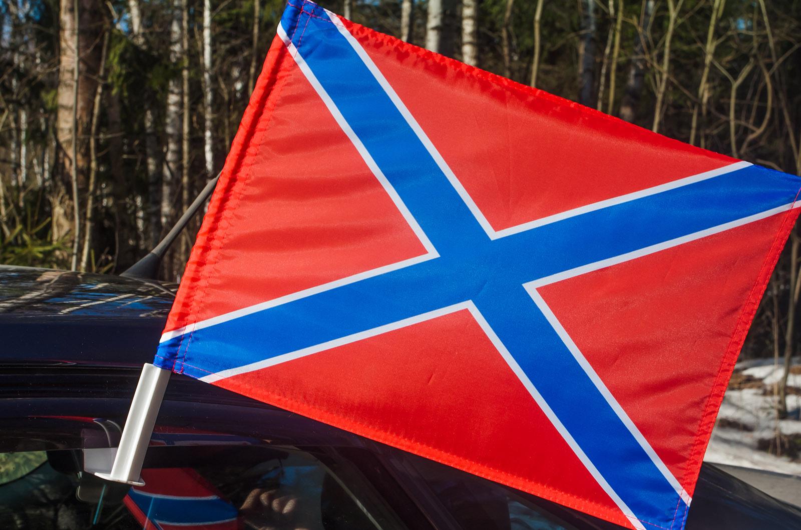 Красно-синий флаг Новороссии на авто