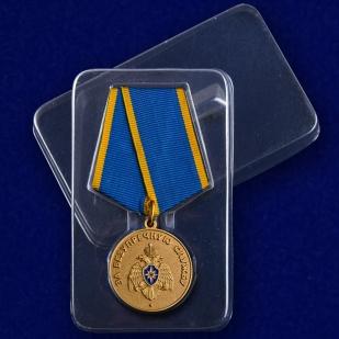 """Медаль """"За безупречную службу"""" МЧС в футляре"""